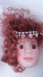 Nice-Handmade-OOAK-Porcelain-Doll-Face-Ornament-Sassy-Redhead-Pearl-Headband-1