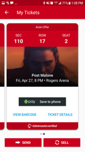 2 Post malone tickets friday june 27th vancouver section 110