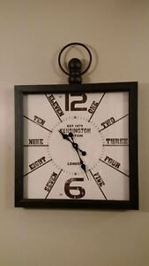 "Large 24"" Square Clock, Black Metal Frame,New Original Packaging"
