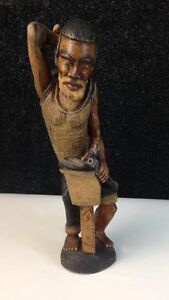 """Hand Carved Wooden Statue Man & Hammer 6"""" x 24"""""""