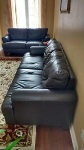Real Top Grain Leather Sofa and Loveseat - Pristine Condition