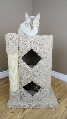 Wood Cat Condo Two Story Carpet Kitty Furniture with Sisal Scratching Post ()