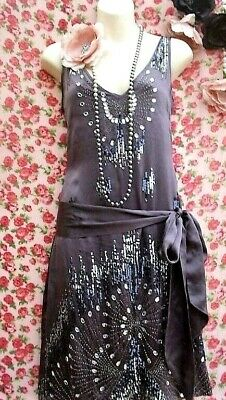 WAREHOUSE SIZE 8 10 12 CHARLESTON 20s DECO FLAPPER BEAD SEQUIN GREY DRESS US 4 6 (Flapper Dress Size 8)