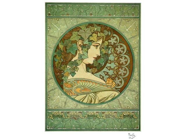 Laurel & Ivy 2 Print Set Art Nouveau Deco Alphonse Alfons Mucha Vintage Pictures