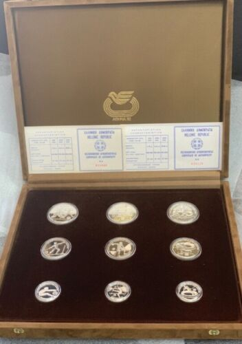 1982 Athens Greece Olympic Silver Proof 9 Coin Commemorative Set.