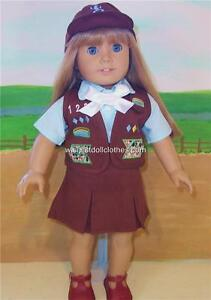BROWNIE SCOUT SKIRT VEST UNIFORM Doll Clothes fits American Girl NEW