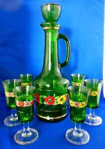 Shabby Chic Decor 7Pc Green Floral Glass Decanter & Glasses