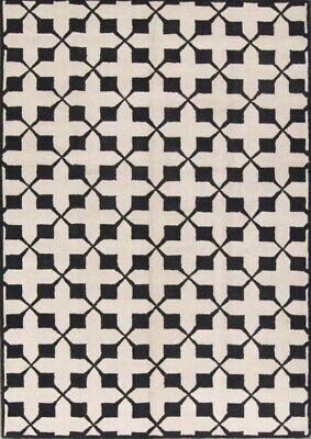 Hand-tufted Geometric Black & White Oushak Modern Oriental Area Rug Wool 8