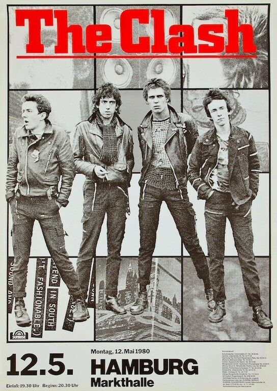 The Clash Hamburg Germany 1980 POSTER Punk Rock Rare