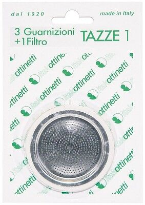 Gasket and Filter for Coffee Makers Type Bialetti Size 1 Cup 3+1