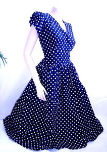 Vintage style polka dot wedding mad men costume pin up  50's dress L