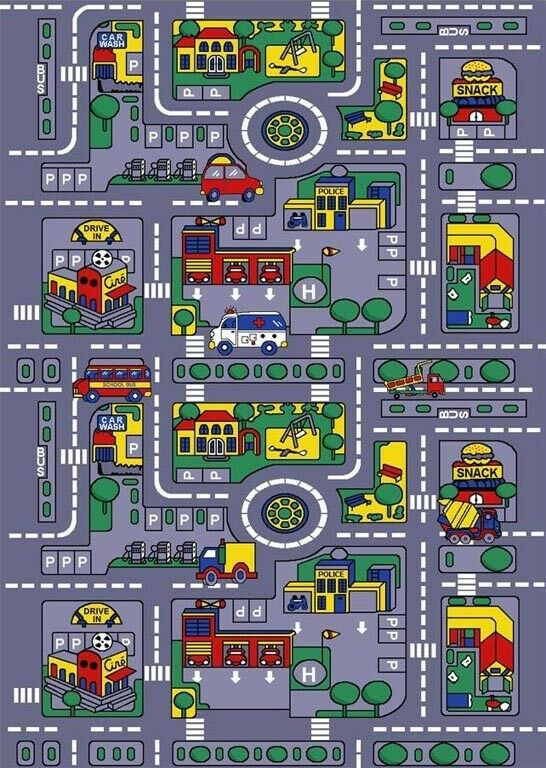 CITY MAP CAR PLAY TRACK FOR KIDS CLASSROOM SCHOOL LARGE 8 X 11 GEL AREA RUG