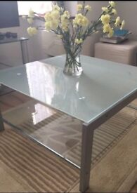 Stylish Glass + Silver Coffee Table
