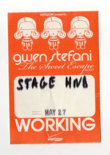 Gwen Stefani 2007 The Sweet Escape Tour Working Crew Satin Backstage Pass