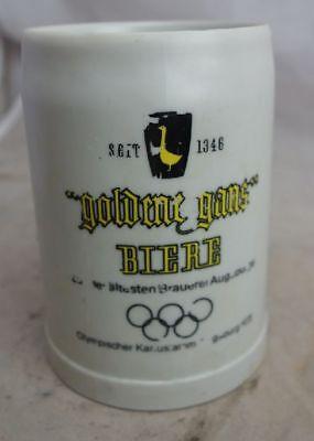 große Auflösung Bierkrug Nr. 1550 goldene Gans Olypmia Kunststoff Kunststoff Krug Groß