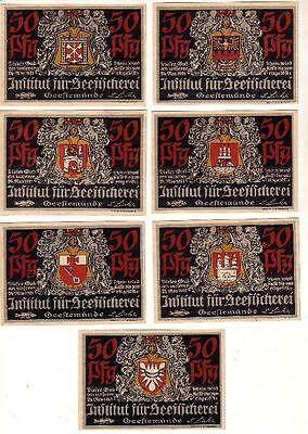 7 Banknoten Notgeld Geestemünde Institut für Seefischerei 1921 (110004)
