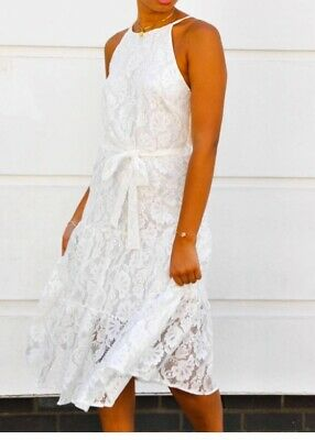 WHITE LACE Midi dress    john zack  size  10