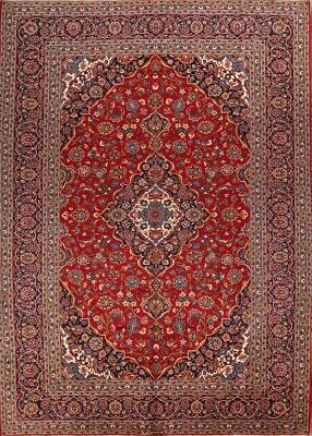 10 X 14 Persian Rug - One-of-a-Kind Vintage Traditional Persian Hand-Knotted 10'x14' Red Wool Area Rug