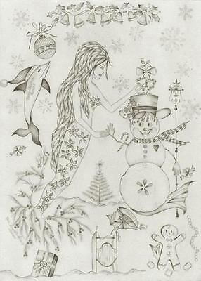 MERMAID CHRISTMAS SNOWMAN SLEIGH GINGERBREAD NAUTICAL DOLPHIN SLED ART PAINTING