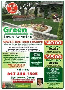 LAWN CORE AERATION GRASS SEED FERTILIZER TORONTO MISSISSAUGA
