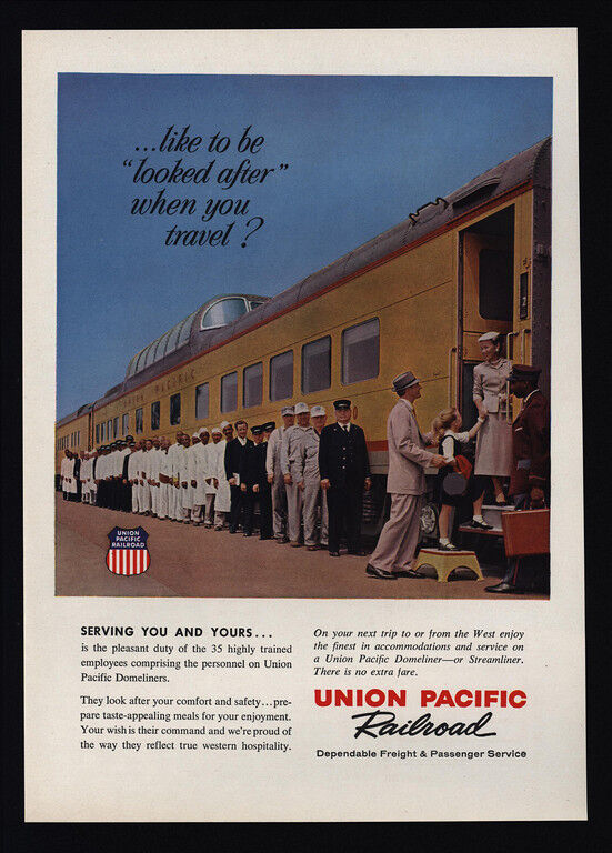 1959 UNION PACIFIC Railroad Train - 35 Highly Trained Employees - VINTAGE AD
