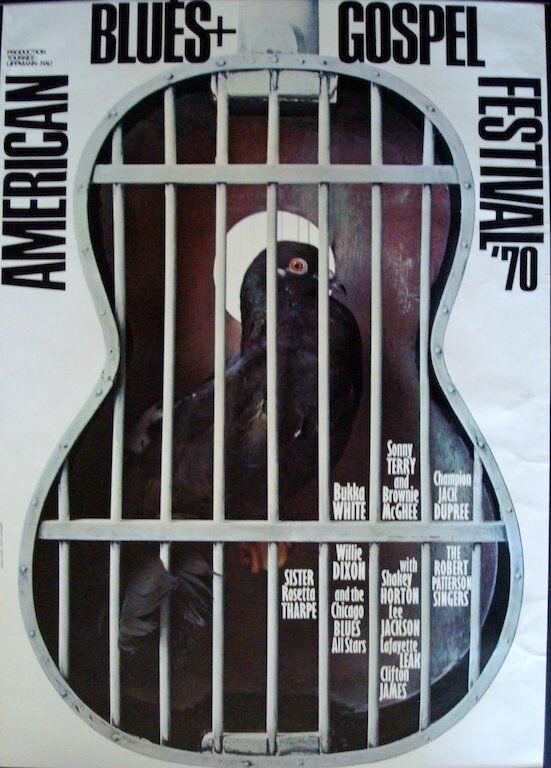 AMERICAN BLUES AND GOSPEL 1970 German A0 concert poster GUNTHER KIESER