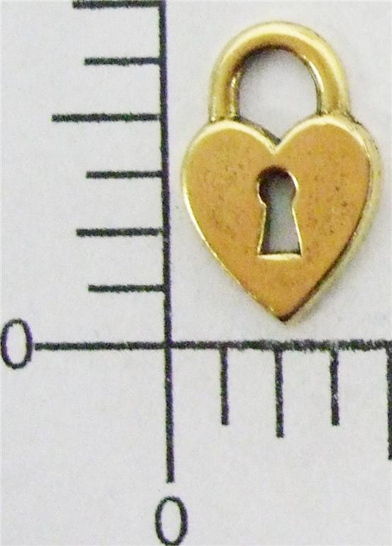 16393          12 Pc Brass Oxidized Heart Lock Charm Jewelry Finding  SALE