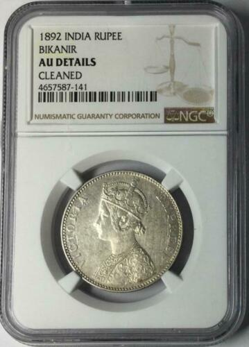 1892 India Rupee Bikanir NGC AU Details #