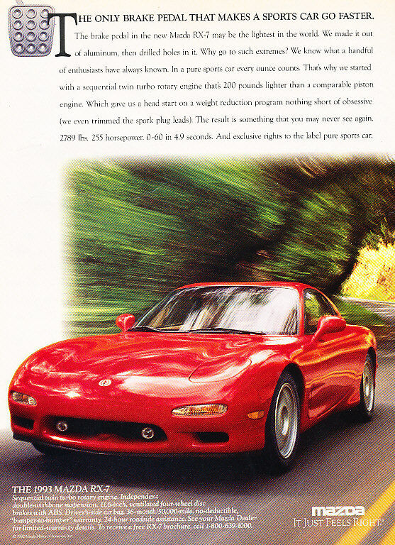 1993 Mazda RX-7 - Pedal - Classic Vintage Advertisement Ad D72