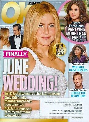 2014 Ok Magazine  Jennifer Aniston   Justin Theroux Wedding Juan Pablo Selena