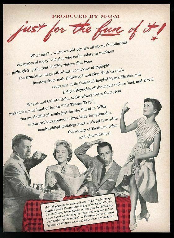 1955 Frank Sinatra Debbie Reynolds photo The Tender Trap movie trade ad