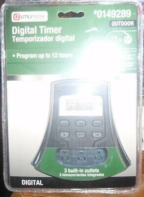 Utilitech Photocell Timer Outdoor 3 Outlet Digital-0149289