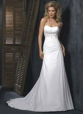 💕 MAGGIE SOTTERO 💕 $1199 12 ANN IVORY CHIFFON CORSET WEDDING DRESS BRIDAL GOWN ()