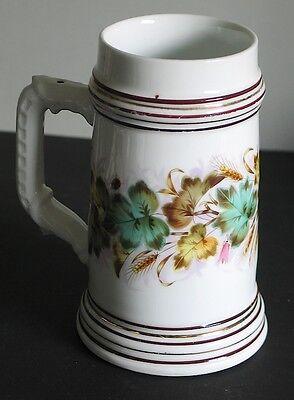 Vintage Ladybug Stein Mug White Porcelain Wheat Leaves unmarked FREE SH