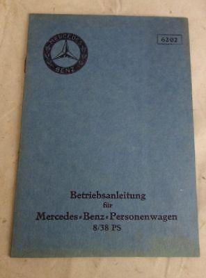 Umkarton Betriebsanleitung Mercedes Benz Personenwagen 8/38 PS Oldtimer
