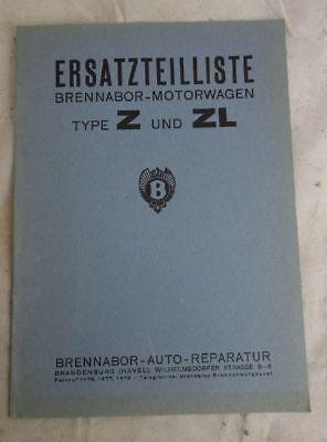 Umkarton Preisliste Ersatzteilliste Oldtimer Brennabor Motorwagen Z und ZL