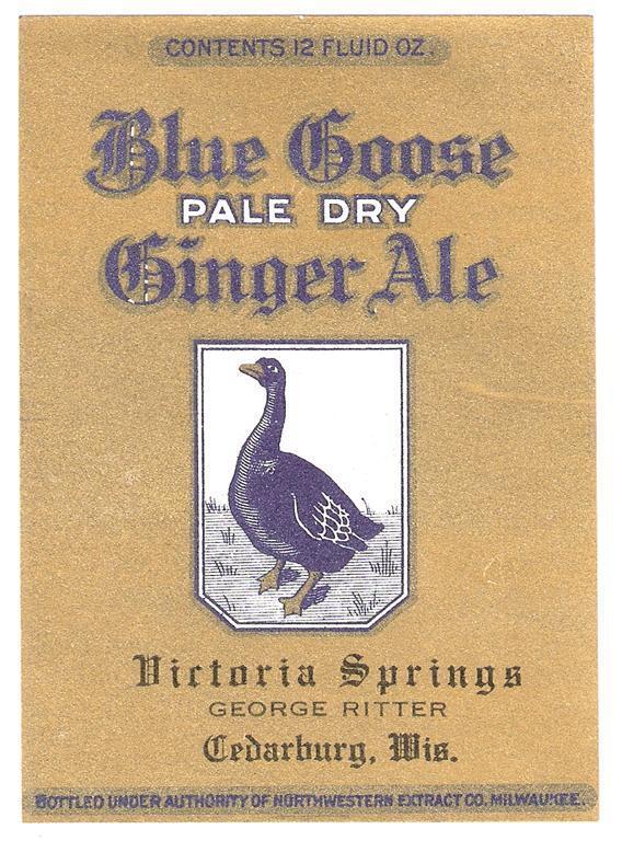 Blue Goose Pale Dry Ginger Ale Label Victoria Springs George Ritter Cedarburg Wi