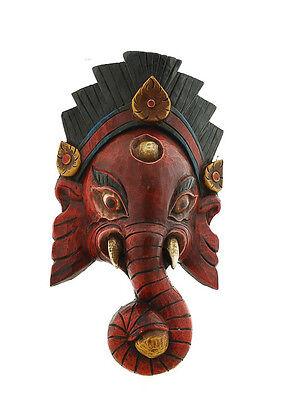Mask Nepalese of L Himalaya Elephant Dieu Ganesha Wooden Painted 3413