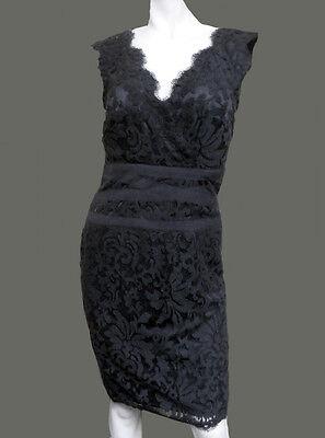 NWT TADASHI SHOJI Embroidered Lace SEXY V-Neck w/Ribbon BLACK tank DRESS size- 6
