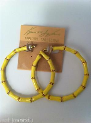 Kenneth Jay Lane Yellow Bamboo Hoop Earrings