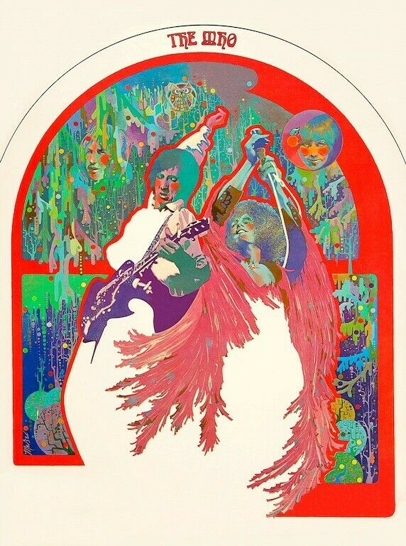 The Who Psychedelic POSTER 1969 Townshend Daltrey Rare