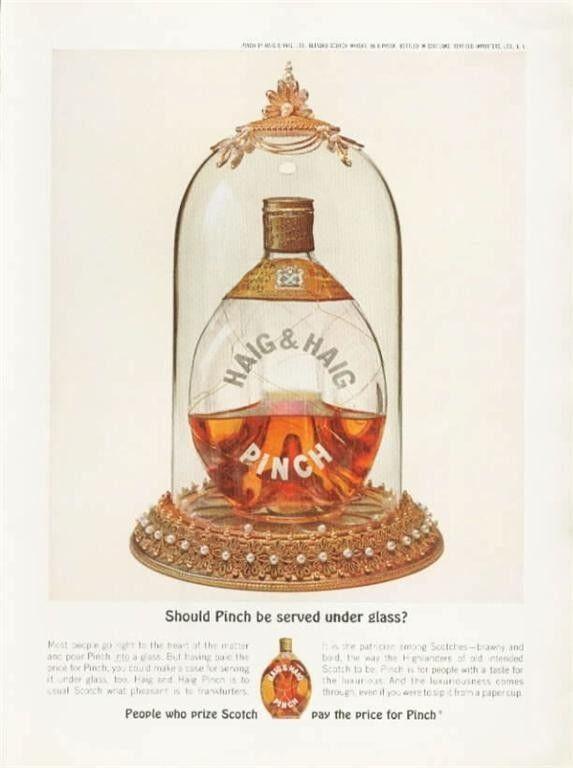 1963 Haig & Haig PRINT AD Scotch Vintage Bottle Pinch Under Glass
