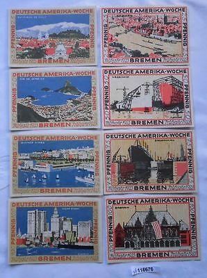 8 Banknoten Notgeld Bremen Deutsche Amerika Woche 1923 (116676)