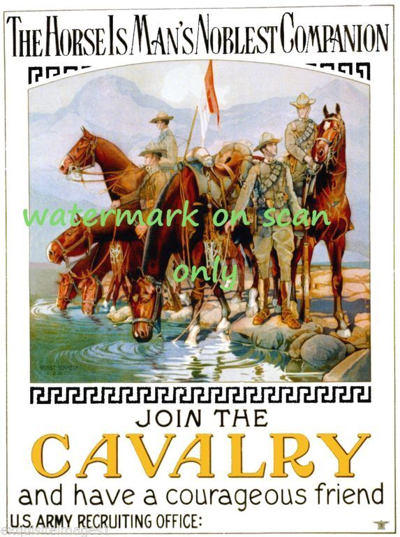 1920 U.S. Army~Join Cavalry Poster~Soldiers on Horses~ NEW  Lge Note Cards