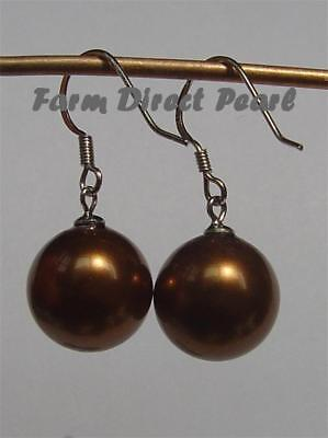 925 Sterling Silver 12mm Chocolate Drop Dangle Sea Shell Pearl Earrings Pearl 925 Sterling Silver Drop