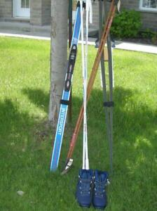 Two Cross country Ski kits with poles and bindings for sales