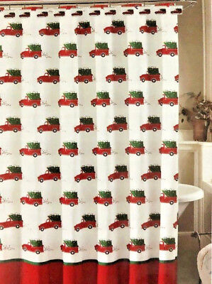 """Red Farm Truck Christmas Tree Shower Curtain with Hooks 72x72"""" Country Cabin"""