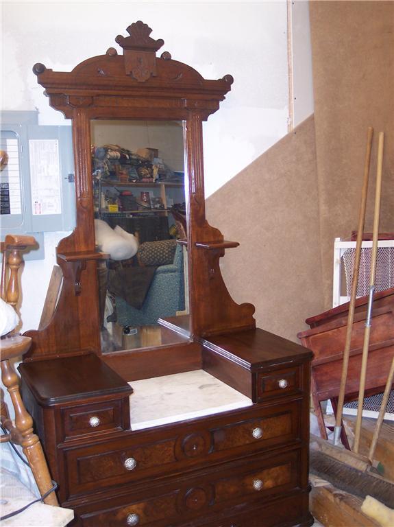 Walnut Eastlake Marble Top Dresser with Mirror  (DR3)