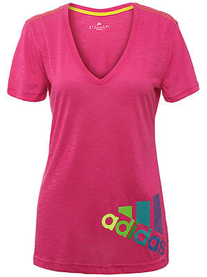 NWT Women's Adidas Deep-V neck GRAPHIC Pink Boyfriend TEE T SHIRT CLIMALITE  NEW Boyfriend Womens V-neck T-shirt