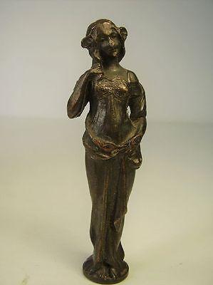 Antike schöne Bronze Jugendstil Frau / für schraub Siegel um 1900